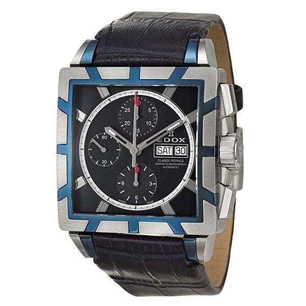 Edox Men's 'Classe Royale' Blue Leather Strap Chronograph Watch