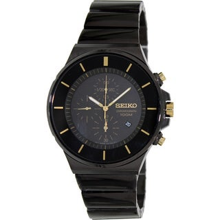 Seiko Men's Black Stainless Steel Chronograph Watch