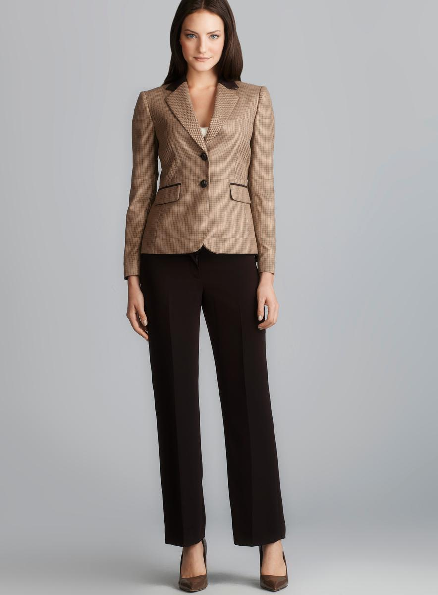Tahari Two Button Mini Houndstooth Petite Pant Suit