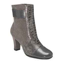 Women's A2 by Aerosoles Remote Controle Grey Snake Printed Patent/Faux Suede
