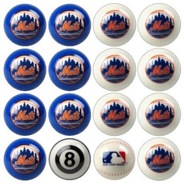MLB Major League Baseball New York Mets Billiards Pool Ball Set
