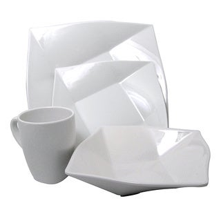 White Melamine 4-piece Square Dinnerware Set