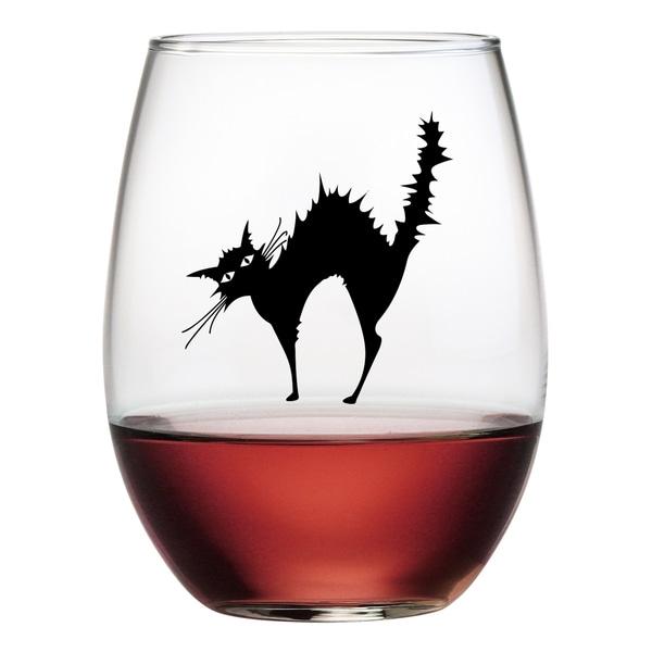 Halloween Black Cat Stemless Wine Glasses (Set of 4)