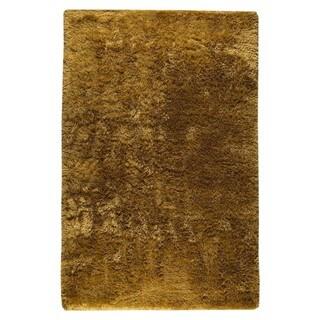 Hand-woven Suns Deep Gold Polyester Rug (5' x 8')