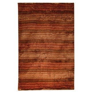 Hand-woven Delh Orange Polyester Rug (5' x 8')