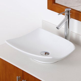 Elite High Temperature Unique Ceramic Trapeziform Bathroom Sink/ Faucet Combo C1042659C
