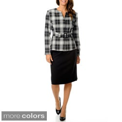 Danillo Womens Washable Plaid Belted Skirt Suit