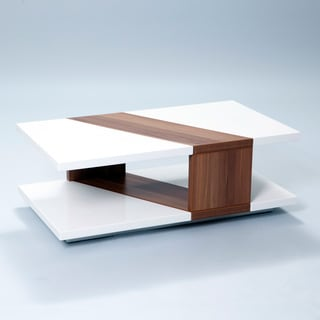 Bianca High-Gloss Walnut Rectangular Coffee Table