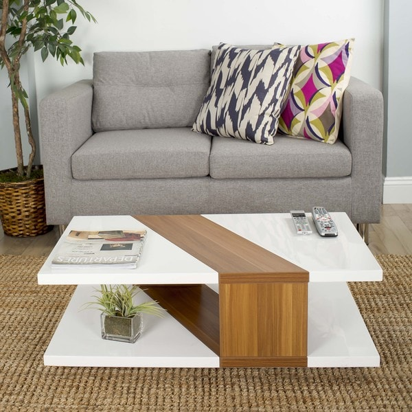 Bianca high gloss lacquer walnut finished rectangular for Furniture of america inomata geometric high gloss coffee table
