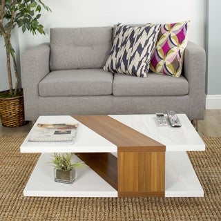 Bianca High-gloss Lacquer Walnut Finished Rectangular Coffee Table