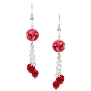 Karla Patin Red Marble Dangle Earrings