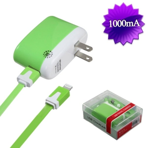BasAcc 8PIN Green Travel Charger for Apple iPhone 5/ 5C/ iPod Touch 5