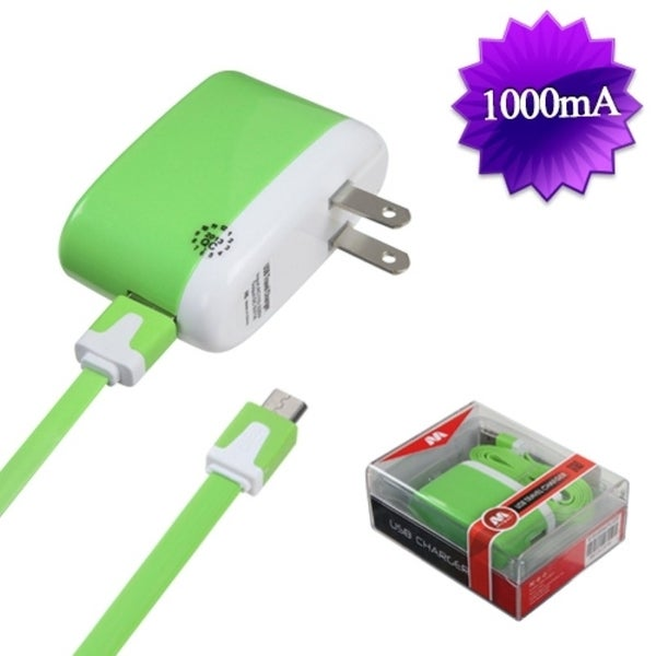 Insten 2-in-1 Green Micro USB Travel Charger with USB-interface Noodle Cable Cord