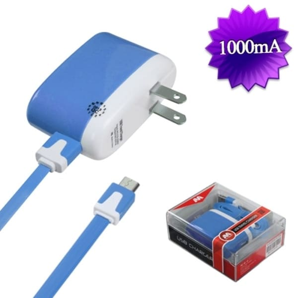 Insten 2-in-1 Blue Micro USB Travel Charger with USB-interface Noodle Cable Cord