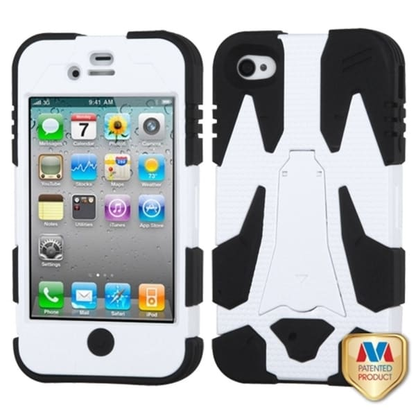 INSTEN Ivory White/ Black Cyborg Hybrid Phone Case Cover for Apple iPhone 4/ 4S