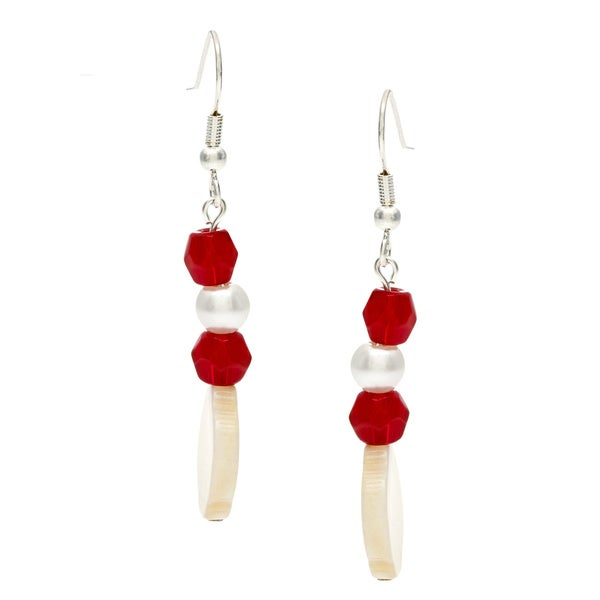 Karla Patin Red and White Dangle Earrings