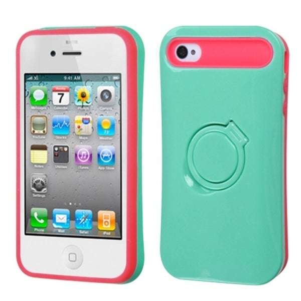 INSTEN Teal Green/ Hot Pink Ring Stand Phone Case Cover for Apple iPhone 4S/ 4