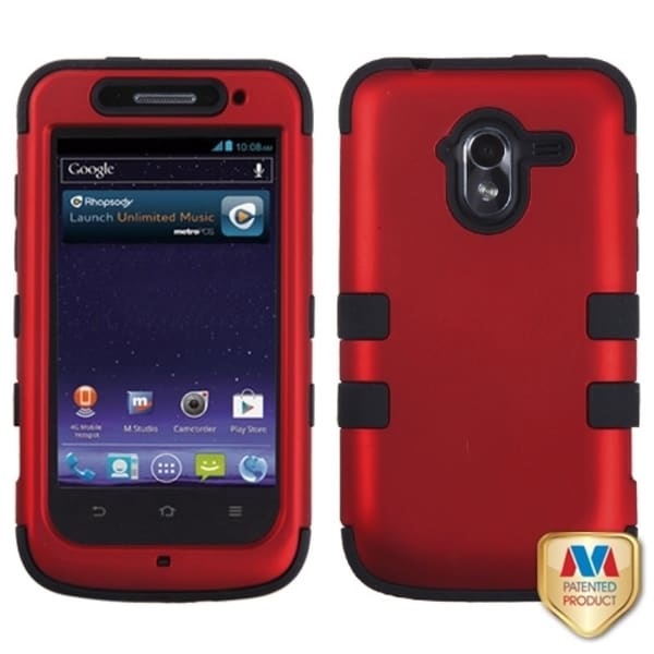 INSTEN Titanium Red/ Black TUFF Hybrid Phone Case Cover for ZTE N9120 Avid 4G