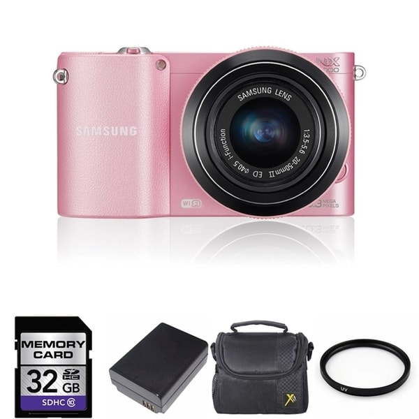 Samsung NX1000 Mirrorless WiFi Digital Camera 20-50mm Lens 32GB Bundle