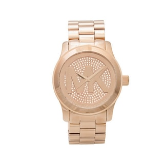 Michael Kors Runway Rose Gold-tone Stainless Steel Logo Women`s Watch