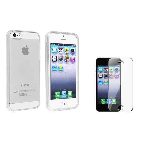 INSTEN Clear TPU Phone Case Cover/ Screen Protector for Apple iPhone 5/ 5S