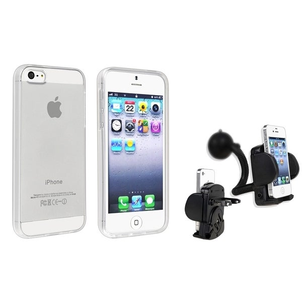 INSTEN Clear TPU Phone Case Cover/ Windshield Mount Phone/ PDA for Apple iPhone 5/ 5S