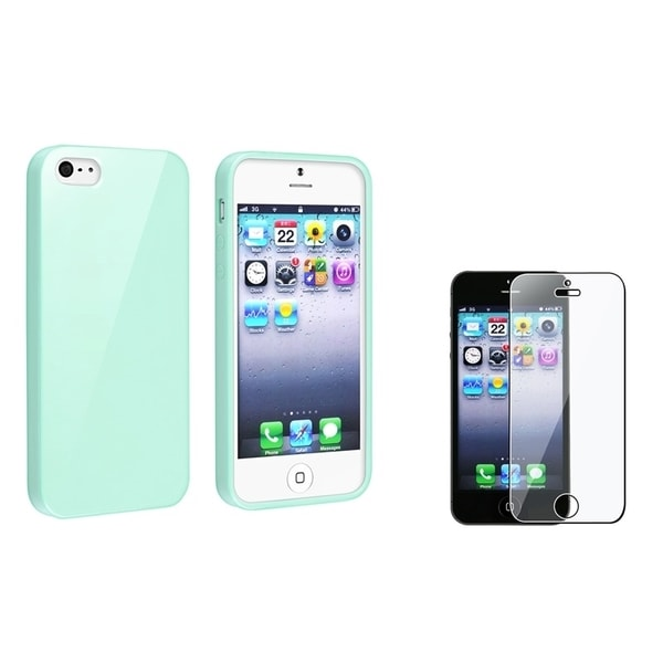 INSTEN Mint Green Jelly TPU Phone Case Cover/ Screen Protector for Apple iPhone 5/ 5S