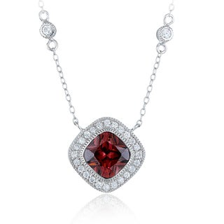 Icz Stonez Sterling Silver Cubic Zirconia Diamond-shaped Station Necklace