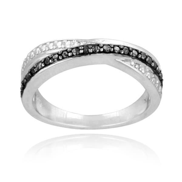 DB Designs Rhodium-plated 1/10ct TDW Black Diamond Wrap Ring