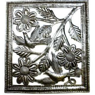 Handmade Birds on Flowers Metal Wall Art (Haiti)