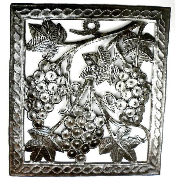 Handmade Grapes on the Vine Metal Wall Art (Haiti)