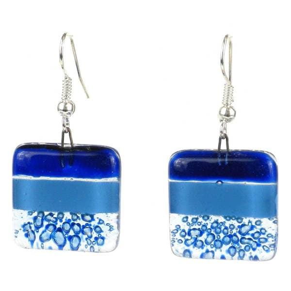 Handcrafted Square Glass Ocean Earring (Chile)