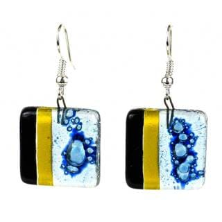 Handcrafted Women's Square Glass Geometric Dangling Earrings (Chile)