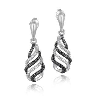 DB Designs Sterling Silver 1/10ct TDW Black Diamond Swirl Dangle Earrings