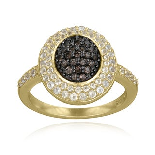 Glitzy Rocks 18k Gold over Silver Smokey Quartz and White Topaz Oval Ring