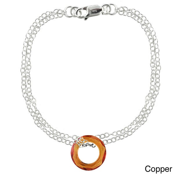 Crystal Ice Sterling Silver Circle Crystal Bracelet