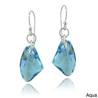 Crystal Ice Sterling Silver Free-form Crystal Dangle Earrings