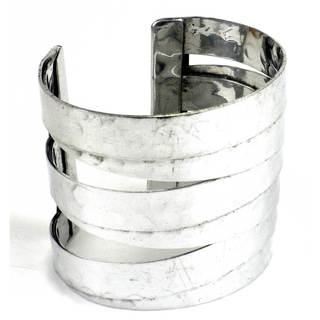 Handmade Banded Silver Finished Hammered Cuff (India)
