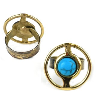 Handmade Encircled Turquoise Brass Ring (South Africa)
