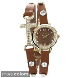 Geneva Platinum Rhinestone Accent Cross Wrap Watch