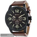 Geneva Platinum Men's Leather Round Face Strap Watch