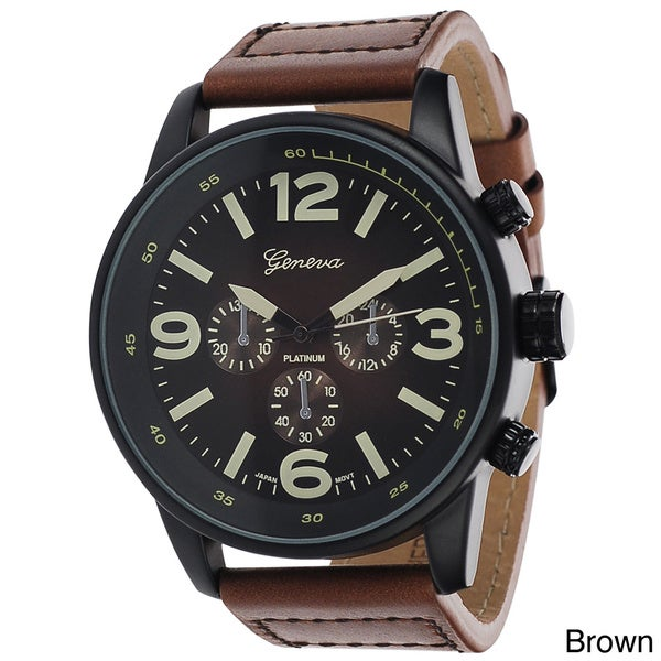 Geneva Platinum Men's Leather Round Face Strap Watch