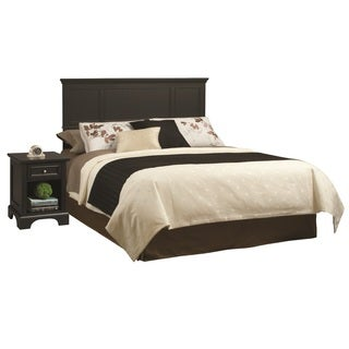 Bedford Black King Headboard and Night Stand
