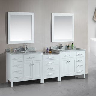 London Collection White Three-piece 92-inch Double Sink Vanity Set