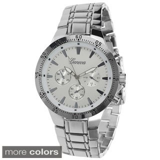 Geneva Platinum Men's Polished Link Watch