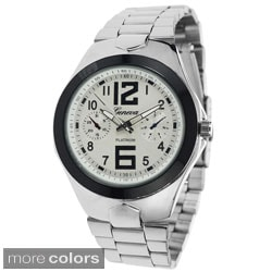 Geneva Platinum Men's Chronograph Polished Link Watch