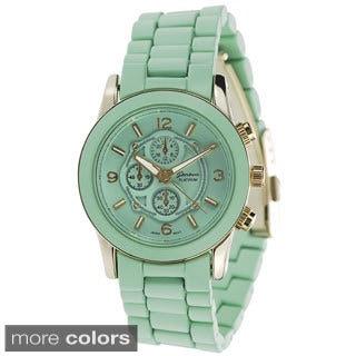 Geneva Platinum Women's Chronograph-style Link Japanese Quartz Watch