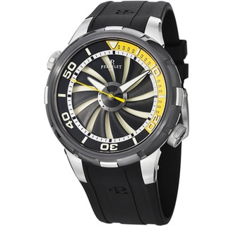 Perrelet Men's A1067/2 'Turbine Diver' Black/Yellow Dial Rubber Strap Watch