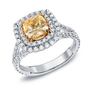 Auriya 18k Two-tone Gold 2 1/2ct TDW Certified Fancy Yellow Cushion-cut Diamond Ring (F-G, VS2-SI1)