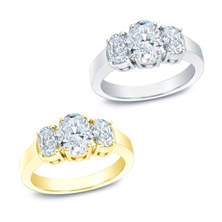 Auriya 14k Gold 2ct TDW Certified 3-stone Diamond Ring (I-J, VS1-VS2)